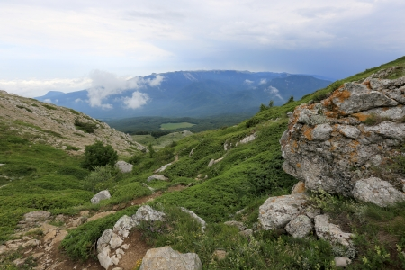 nice valley in Crimean mountains photo