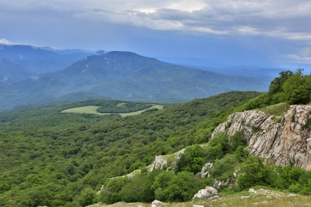 clody sky: Nice landscape in crimean mountains Stock Photo
