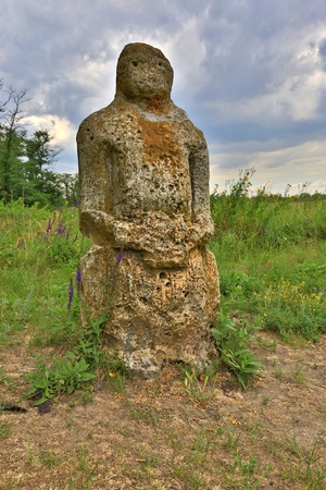 steppe: old stone idol in Ukraunian steppe