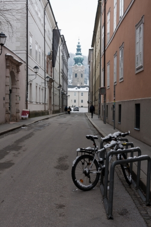alone bike in Salzburg at winter time photo
