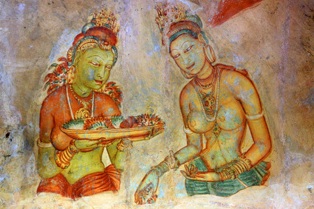 Old fresco in Sigiriya, Sri Lanka