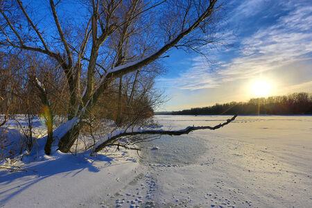 frosty morning: evening winter scene on river
