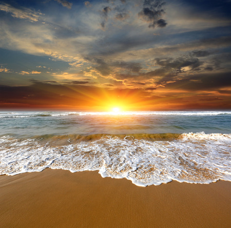 nice hot sunset over sea