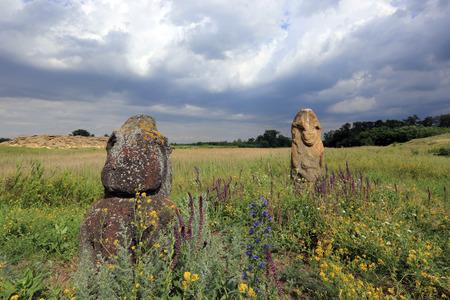 steppe: Stone idols in ukrainian steppe Stock Photo