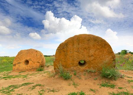 millstone: Old millstones in steppe, Ukraine