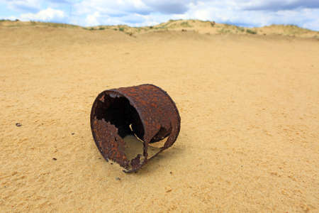 sund: broken rusty can on sund Stock Photo