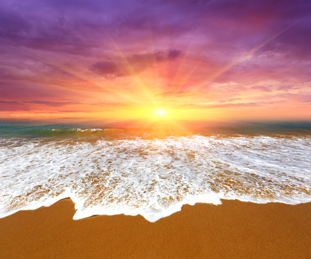 Nice majestic sunset over ocean beach Stock Photo