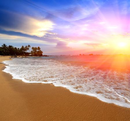 luz do sol: paisagem com luz do sol ao longo da costa de mar Imagens