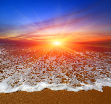 Nice majestic sunset over ocean beach