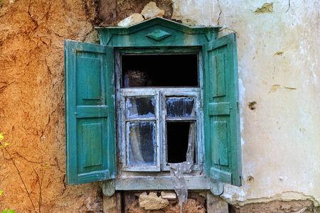 old window frame of abandoned house   photo