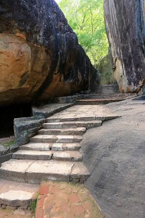 old stairs  in Sigiriya Castle, Sri Lanka photo