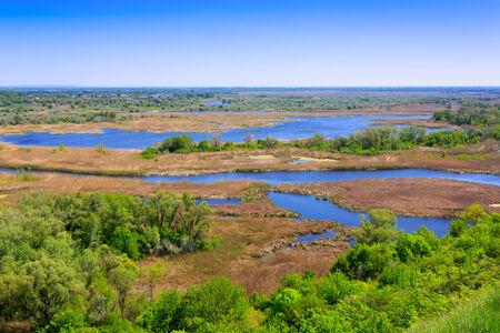 danube delta: View on delta Vorskla river, Ukraine Stock Photo