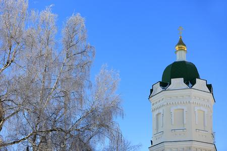 lavra: Pochaevs Lavra Cupola at nice winter day, Ukraine