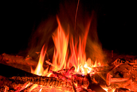 hot fire in darkness on fireplace photo