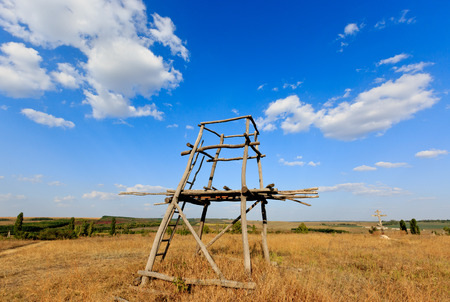 hunters tower: Wooden tower viewpoint in steppe under nice sky Stock Photo