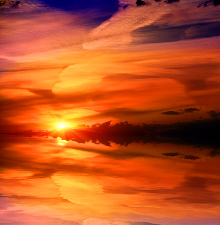 fantasy landscape: nice sunset over lake water