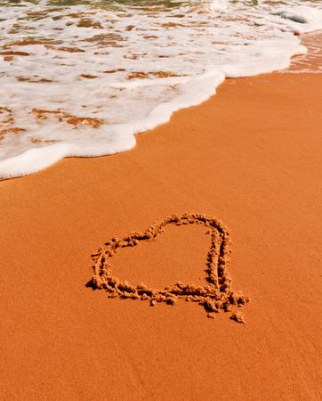 heart sign on sandy sea beach photo
