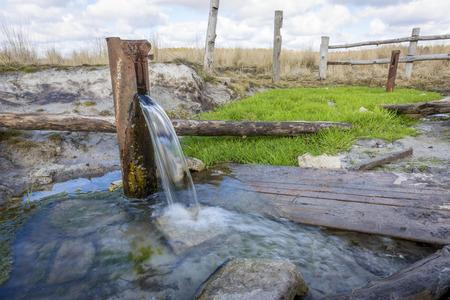 Fuente natural de agua de manantial en el parque