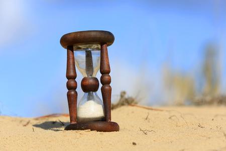 Hourglass in sandy desert in sunny day photo