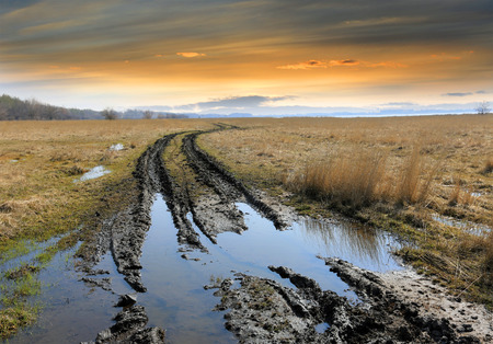 dirt road: dirt road in steppe after rain