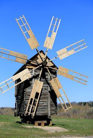 pirogovo: Old wooden windmill in Pirogovo Open-Air Museum, Ukraine