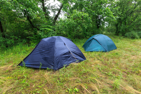 Tourist camp on mwadow in rainy forest