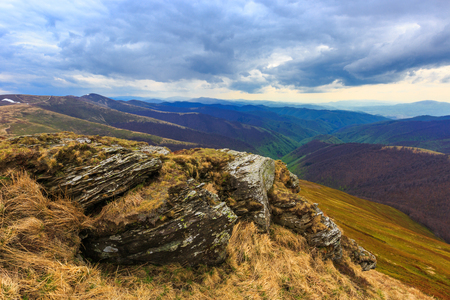 centric: Landsacpe with old rock over valley in Carpathian mountains