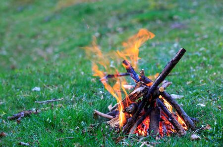 outdoor fireplace: Small campfire on green meadow Stock Photo