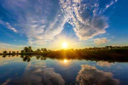 Nice sunset scene over river
