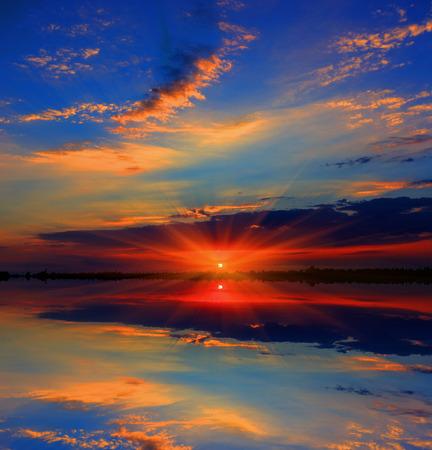 sunset lake: Nice majestic sunset over lake
