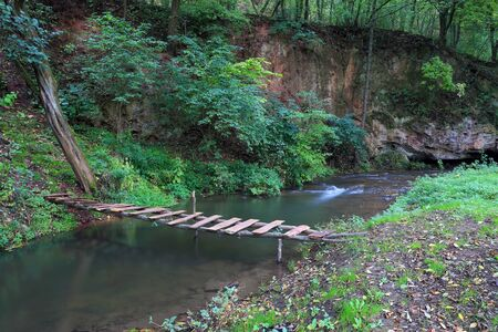 foot bridges: Wooden bridge over river in forest