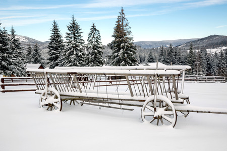 old wood farm wagon: wooden carriage in snow on winter meadow