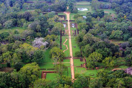 sigiriya: Garden under Sigiriya Rock, view from rock top. Sri Lanka