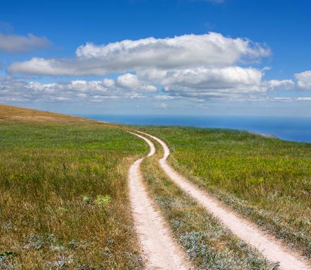 rut: rut road across meadow under nice clouds in sky