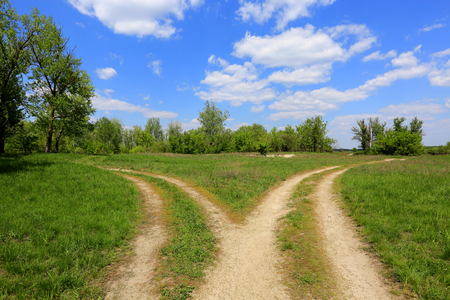 landscape with fork roads in steppe Banque d'images