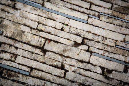 paredes de ladrillos: superficie de ladrillo abstracta de pavimento Foto de archivo