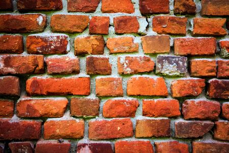 brickwork: red brickwork wall - abstract background