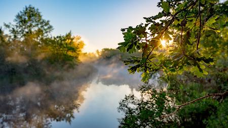 sky brunch: Morning landscape with sunrise on river Stock Photo