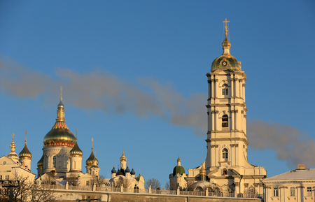 Dome of the Holy Dormition Pochaiv Lavra in the morning sunlight, Ukraine Stock Photo