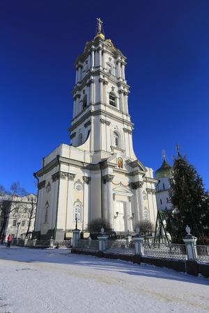 Bell Tower of Holy Dormition Pochayiv Lavra in the morning sunlight, Ukraine