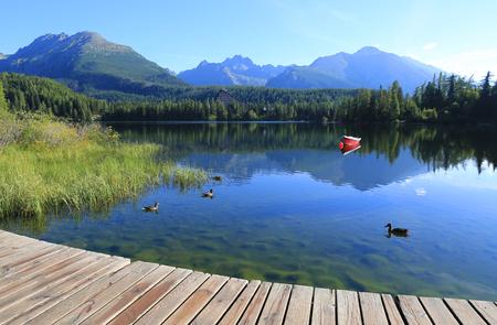 morning scene on mountain lake in Slovakia Banco de Imagens
