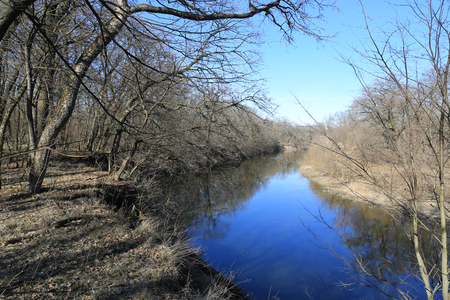 Landscape with river in spring forest Stockfoto - 123214937