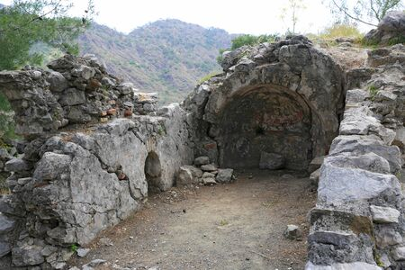 view on Chimera church ruin near Yanartash natural vents with perpetual flames. Lician way in Turkey