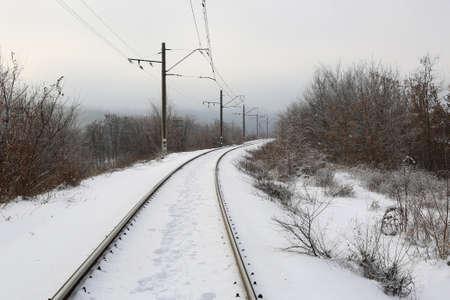 Snow covered railway in winter time Standard-Bild - 162999140