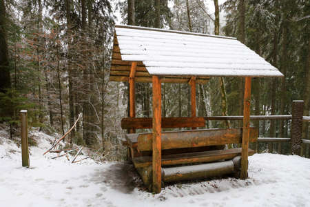 wooden gazebo in the winter forest Standard-Bild