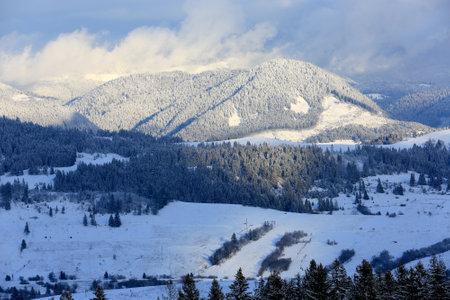 winter landscape in Ukrainian Carpathian mountains Standard-Bild