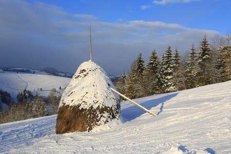 haystack on mountain slope in winter time, Ukraine, Carpathian mountains Standard-Bild
