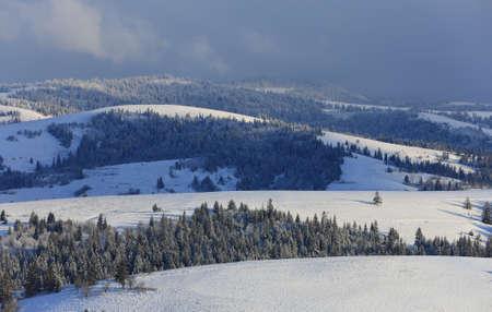 nice winter landscape with Carpathians mountain ridges in winter Standard-Bild