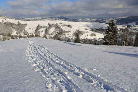 Scene with trail on winter mountain slope, Carpathians in Ukraine