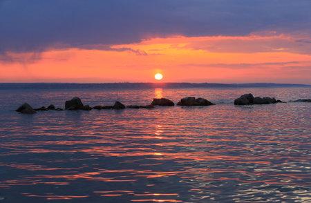 Nice sunset landscape on big lake